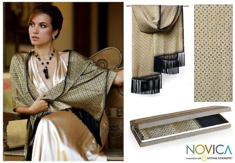 Handmade Silk 'World Views' Batik Shawl (Indonesia)