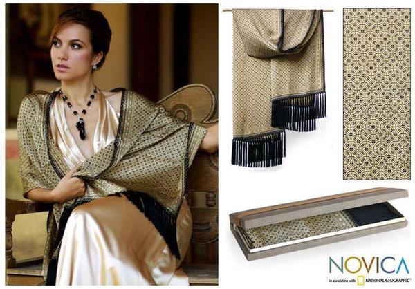 Silk 'World Views' Batik Shawl (Indonesia)