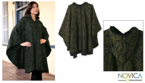 Handmade 'Alpaca Wool 'Lush Leaves' Ruana Cloak (Peru)