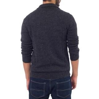 100-percent Alpaca Wool Charcoal Casual Gray Collared Long Sleeve Quarter-zip Mens Pullover Sweater (Peru)