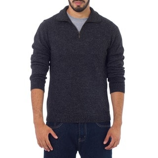 100-percent Alpaca Wool Charcoal Casual Gray Collared Long Sleeve Quarter-zip Mens Pullover Sweater (Peru)