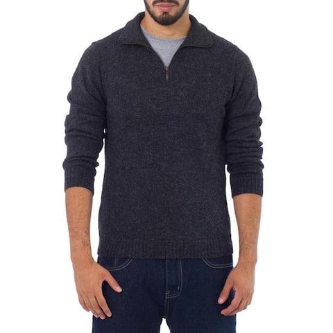 Handmade 100-percent Alpaca Wool Charcoal Casual Gray Collared Long Sleeve Quarter-zip Mens Pullover Sweater (Peru)