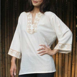 Handmade Cotton 'Cosmopolitan Cloud' Blouse (Thailand) (3 options available)