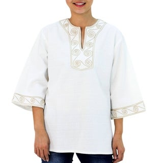 Handmade Cotton 'Cosmopolitan Cloud' Blouse (Thailand)