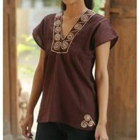 Handmade Cotton 'Mahogany Melody' Blouse (Thailand)