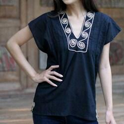 Handmade Cotton 'Ebony Melody' Blouse (Thailand) (3 options available)