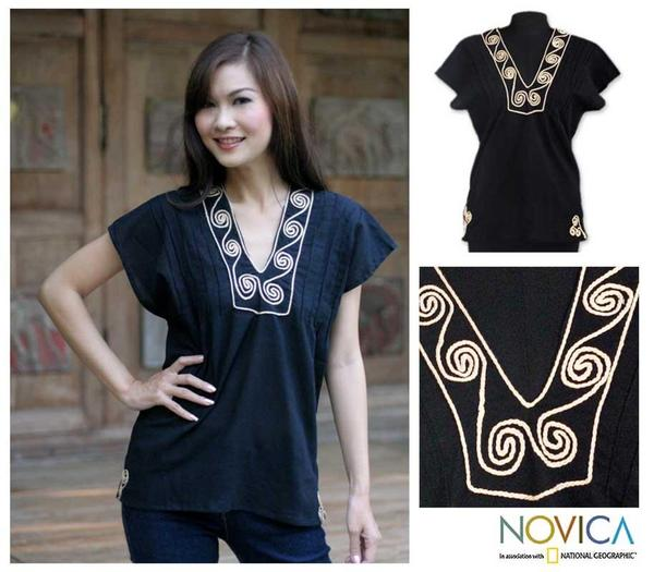 Handmade Cotton 'Ebony Melody' Blouse (Thailand)