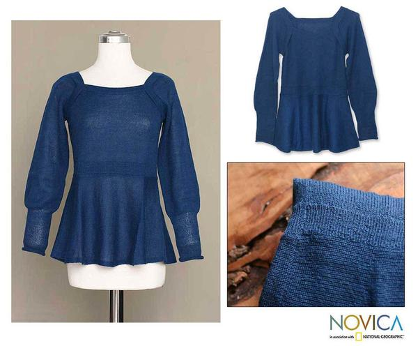 Handmade Alpaca Wool 'Always Azure' Sweater (Peru)