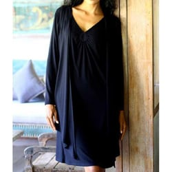 Handmade Modal 'Chic In Black' Wrap Top (Indonesia)