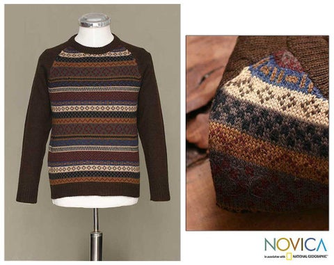 Handmade Alpaca Wool Men's 'Horizon' Crewneck Sweater (Peru)