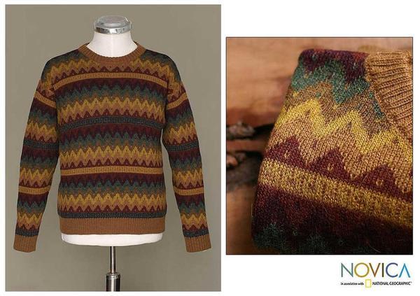 Handmade Alpaca Wool Men's 'Mountaineer' Crewneck Sweater (Peru)
