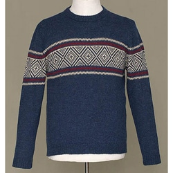 Handmade Alpaca Wool Men's 'Blue Mountains' Crewneck Sweater (Peru)