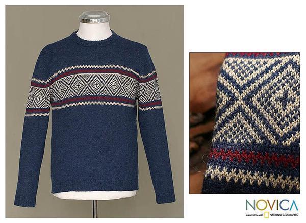 Handmade Alpaca Wool Men's 'Blue Mountains' Crewneck Sweater (Peru)