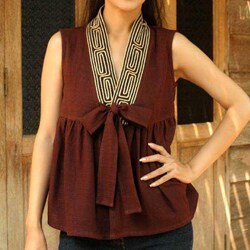 Handmade Cotton 'Relax In Brown' Blouse (Thailand)