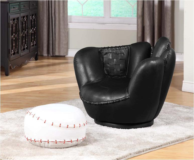 Baseball Swivel Chair w/ Ottoman