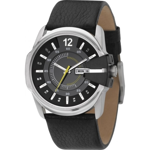 Diesel Men's Stainless Steel Case Black Leather Strap Watch