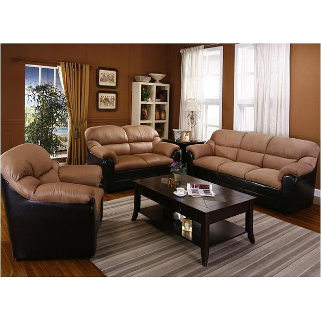 Saddle Microfiber and Espresso Bicast Sofa