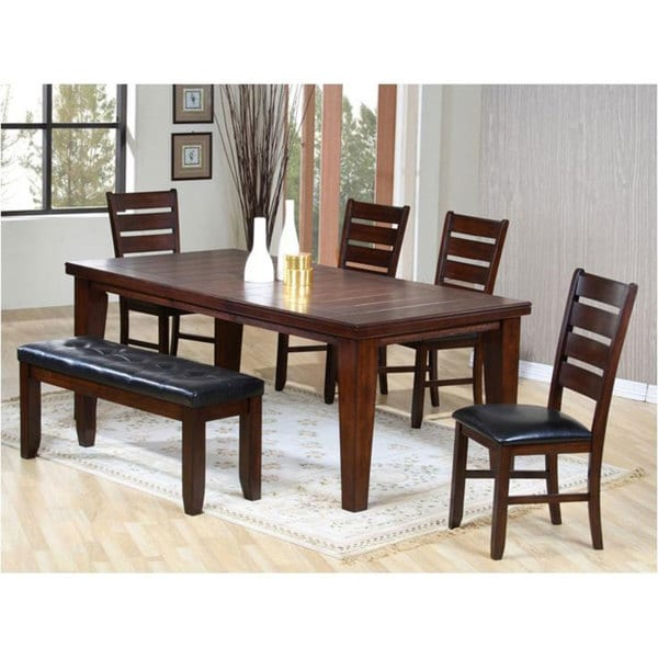 Captivating Rubberwood Cherry Finish Dining Bench   Free Shipping Today   Overstock.com    13453422