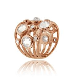 Icz Stonez Rose Gold over Sterling Silver Cubic Zirconia 5-row Ring - Thumbnail 1