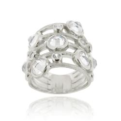 Icz Stonez Sterling Silver 5.61ct TGW Cubic Zirconia 5-row Ring