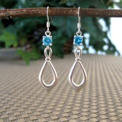 Sterling Silver Blue Cubic Zirconia Earrings (Thailand)