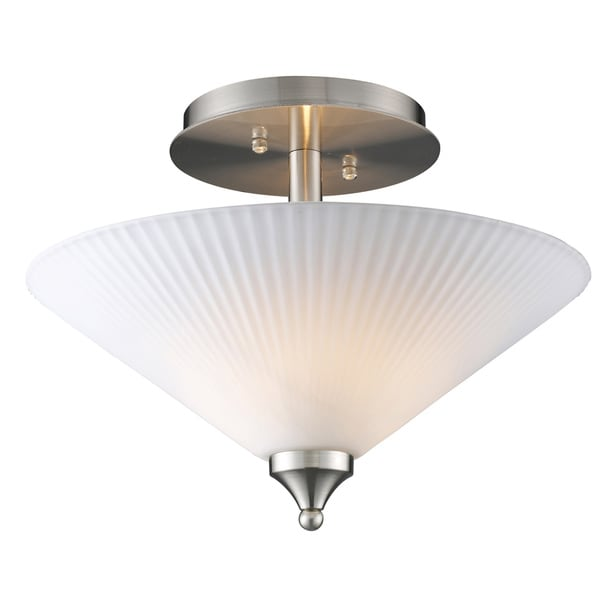 Satin Nickel 2-light Semi Flush