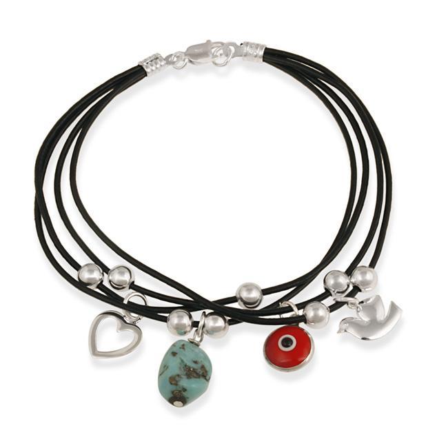 Glitzy Rocks Sterling Silver Turquoise Evil Eye Charm Bracelet