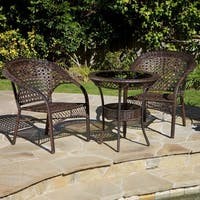 Outdoor Wicker 3-piece Bistro Set by Christopher Knight Home