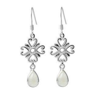 Sterling Silver Shamrock Pear Moonstone Earrings (Thailand)