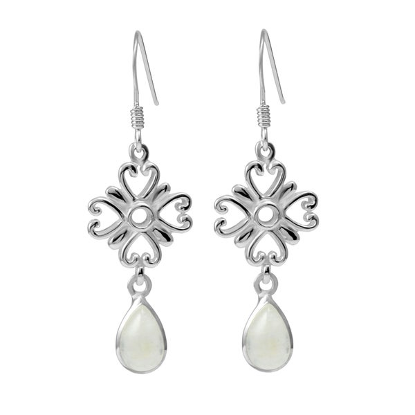Handmade Sterling Silver Shamrock Pear Moonstone Earrings (Thailand)