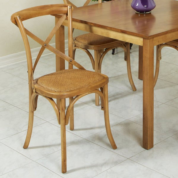 Cross-Back Light Brown Birch Dining Chair by Christopher Knight Home
