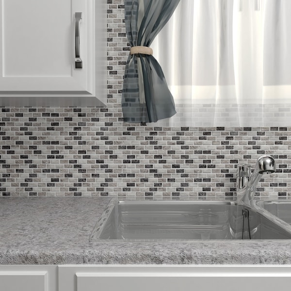 SomerTile 12x11.5-inch Griselda Subway 0.625x1.5-inch Charcoal Natural Stone Mosaic Tiles (Pack of 1