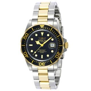 Invicta Men's Pro Diver Q 23k Gold-plating Two-tone Black Dial Watch