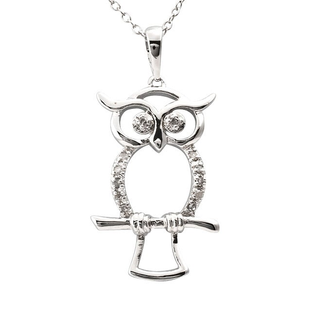 Sterling Silver 1/10ct TDW Diamond Owl Critter Necklace (J-K, I3) - Thumbnail 0