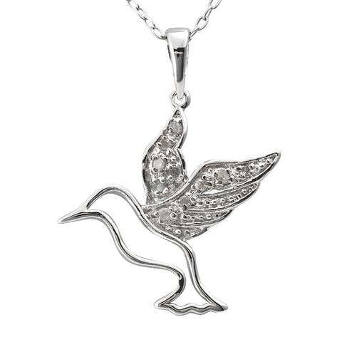 Sterling Silver 1/10ct TDW Diamond Hummingbird Necklace (J-K, I3)
