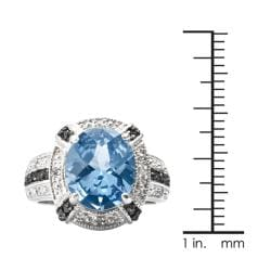 Sterling Silver Created Blue Spinel and 1/10ct TDW Diamond Ring (J-K, I3)