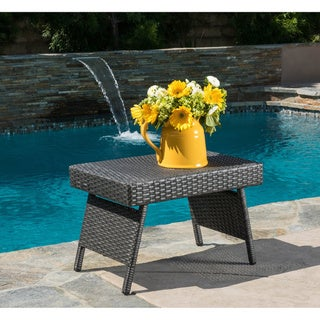 Link to Outdoor Wicker Adjustable Folding Table by Christopher Knight Home Similar Items in Outdoor Coffee & Side Tables