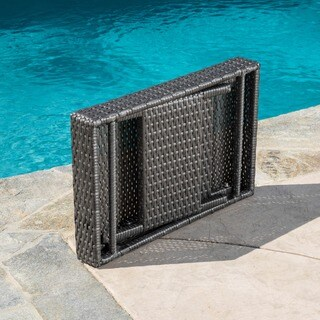 Outdoor Wicker Adjustable Folding Table by Christopher Knight Home