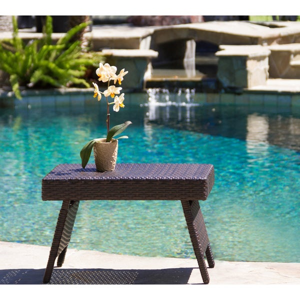 Outdoor Wicker Adjustable Folding Table By Christopher Knight Home   Free  Shipping Today   Overstock.com   13454981