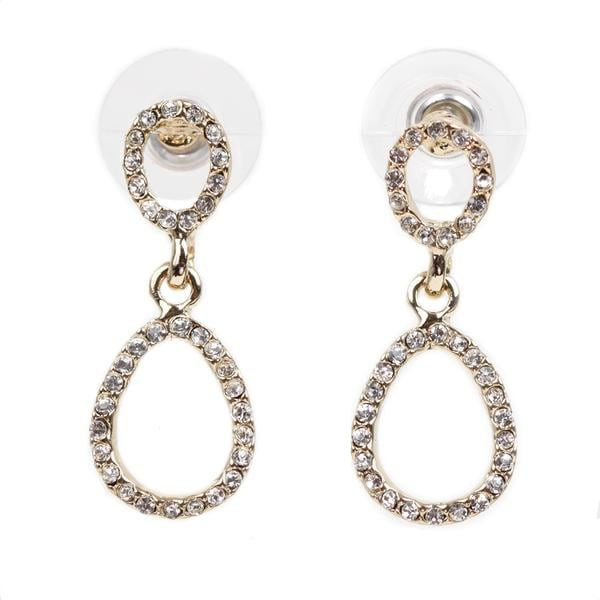 NEXTE Jewelry 14k Gold Overlay Rhinestone Double Oval-style Earrings