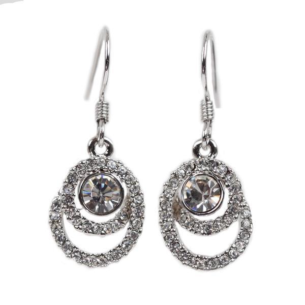 NEXTE Jewelry Silvertone Rhinestone Swirl-style Swank Earrings