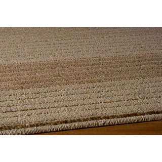 Illusion Power-loomed Stripe Beige Rug (5'3 x 7'6)