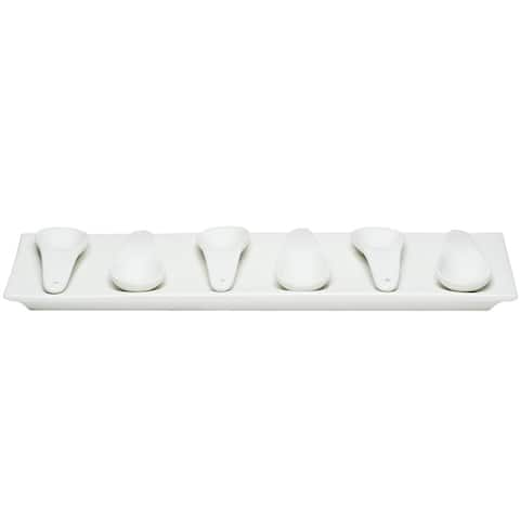 Red Vanilla Trends Porcelain Flat 7-piece Appetizer Set