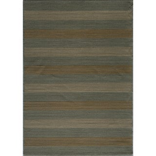 Illusion Power-loomed Stripe Blue Rug (3'11 x 5'7)