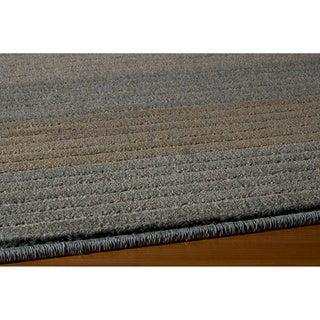 Illusion Power-loomed Stripe Blue Rug (5'3 x 7'6)