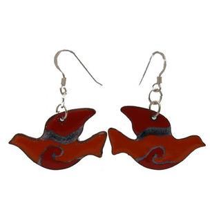 Handmade Copper Red Enamel Peace Dove Earrings (Chile)