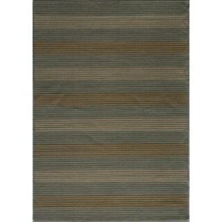 Illusion Power-loomed Stripe Blue Rug (7'10 x 9'10)