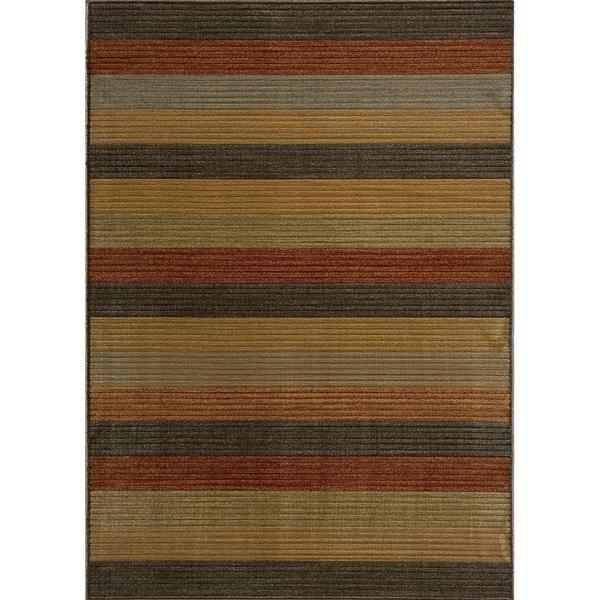 Power-loomed Illusion Stripe Multi Rug (3'11 x 5'7)