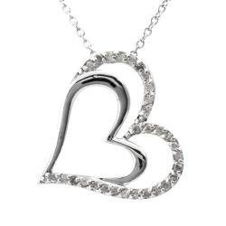 Sterling Silver 1/4ct TDW Diamond Double Heart Necklace (J-K, I3)