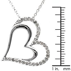 Sterling Silver 1/4ct TDW Diamond Double Heart Necklace (J-K, I3) - Thumbnail 2